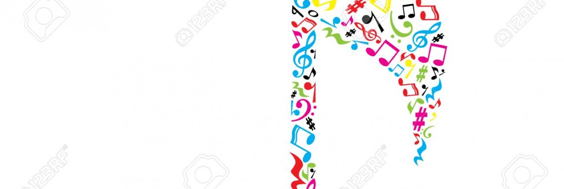 Music note on white.